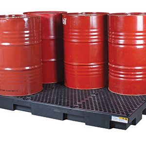 Drum-pallet bunds-low-profile-polyethylene-with-removable-grate-–-six-drum