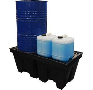 Drum-pallet bunds-polyethylene-with-removable-grate-–-two-drum