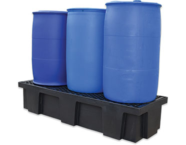 Drum-pallet bunds-polyethylene-with-removable-grates-–-three-drum