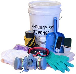 Mercury spill kits with Mercsorb amalgamation powder