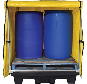 Canvacon cover with frame for polyethylene 4 Drum bund